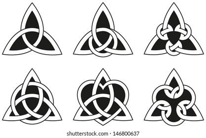 Celtic Triangle Knots - Six varieties of endless basket weave knots used for decoration or tattoos.