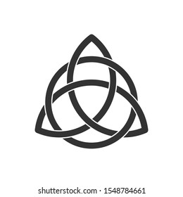 Celtic trinity knot. Triquetra symbol interlaced with circle. Ancient ornament symbolizing eternity. Infinite loop sign interlocking with circle.Interconnected loops make trefoil.Vector illustration.