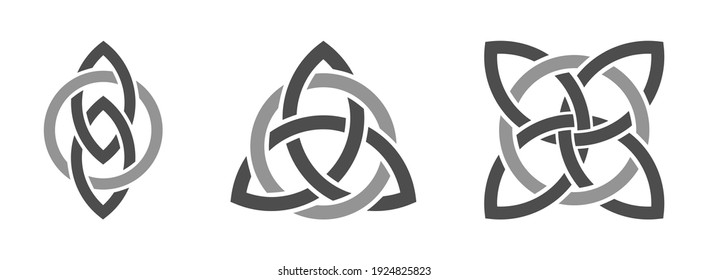 Celtic trinity knots interlaced with circle. Infinite loop symbolizing eternity. Web design elements.Isolated on white background. Vector illustration.