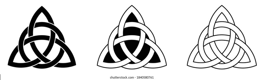 Celtic Triquetra Trinity knot interlaced with a circle (Element of Celtic Ornament) Vector illustration