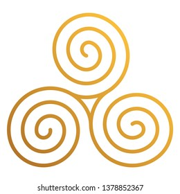 Celtic Triskele - Beautiful Celtic triskele, also known as triskelion or triple spiral, isolated on white background