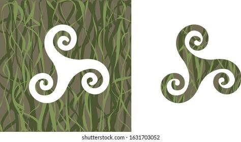 celtic triskele in grass khaki color