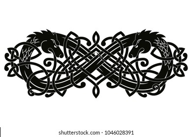 Celtic two-headed dragon with national ornament intertwined ribbon isolated on white background.