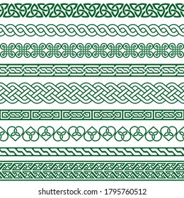 Celtic vector seamless border pattern collection in green, Irish braided frame designs for greeting cards, St Patrick's Day celebration. Retro Celtic collection of braided ornament