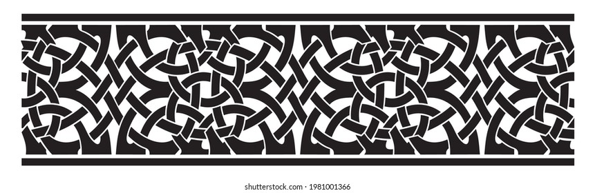 Celtic vector seamless ornament. Black silhouette on a white background.