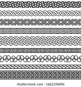 Celtic vector semaless border pattern collection, Irish braided frame designs for greeting cards, St Patrick's Day celebration. Retro Celtic collection of braided ornaments in black and white