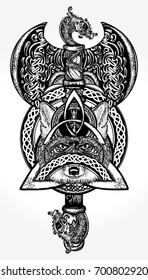 Celtic viking tattoo and t-shirt design. Helm of Awe, aegishjalmur, celtic trinity knot. Thor's Hammer art