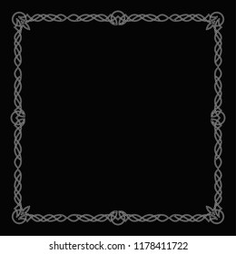 Celtic white square frame on a black background.