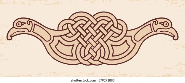 Celtic zoomorphic national figure. Ornament with two birds on a beige background with aging effect.