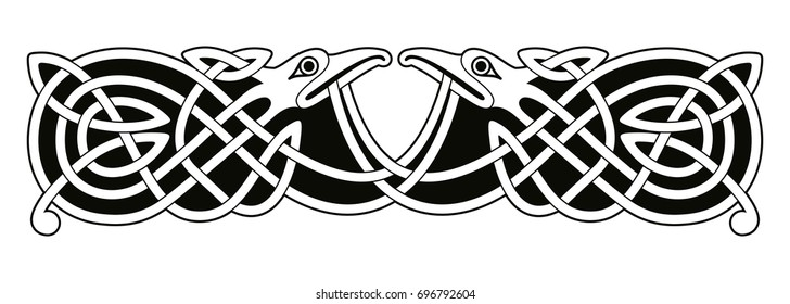 Celtic zoomorphic national figure. Vector ornament with bird on a white background.