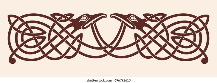 Celtic zoomorphic national figure. Vector ornament with bird on a beige background.