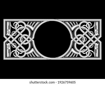 Celtic-Scandinavian design. Old Norse pattern, frame. Woven pattern of stylized dragons, isolated on black, vector illustration
