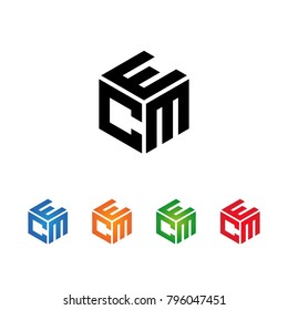 CEM,CME,MEC,MCE,ECM,EMC letters Logo Initial Template.Modern Style. Hexagon concept.Black,Blue,Orange,Green,Red color on white background