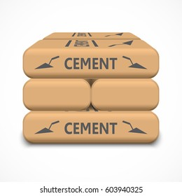 Cement bags isolated on white background. Paper sacks. Vector illustration.