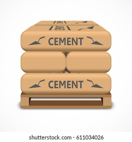 Cement bags on a wooden pallet. Paper sacks isolated on white background. Vector illustration.