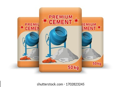 Cement bags. Paper sacks isolated on white background. Vector illustration.