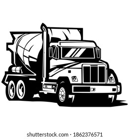 cement concrete mixer truck on black and white background, Cement mixer truck on white vector image, mixer truck cement isolated