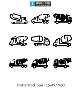 cement mixer icon or logo isolated sign symbol vector illustration - Collection of high quality black style vector icons