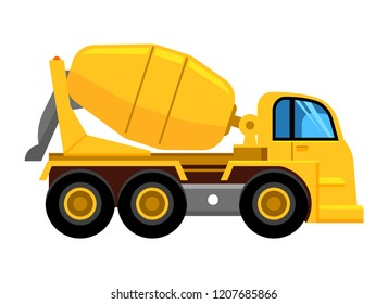 Cement mixer truck. Work yellow vehicle concrete mixer car vector picture isolated
