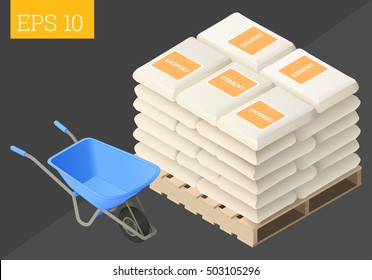 cement sack stacked and wheelbarrow eps10 vector illustration