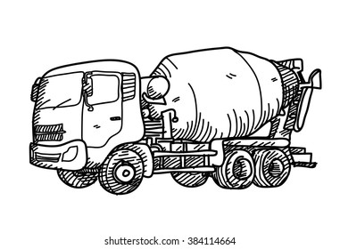 Cement Truck Doodle, a hand drawn vector doodle illustration of a cement truck.
