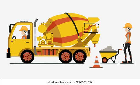 Cement truck with female engineers and construction equipment.