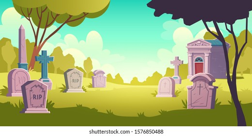 Cemetery day landscape, tombstone with RIP inscription, cartoon vector. Gravestones with cross, obelisk, ossuary or crypt in sunlight and green grass lawn, eternal peace illustration background