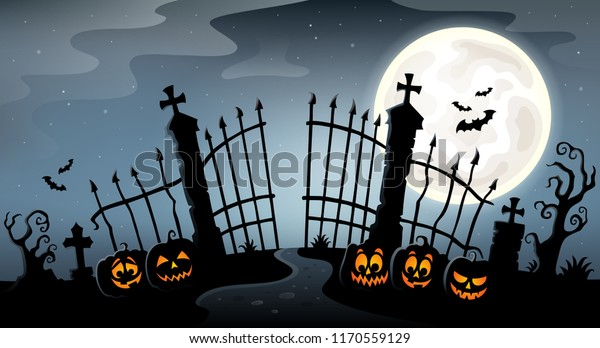 Cemetery gate silhouette theme 4 - eps10 vector illustration.