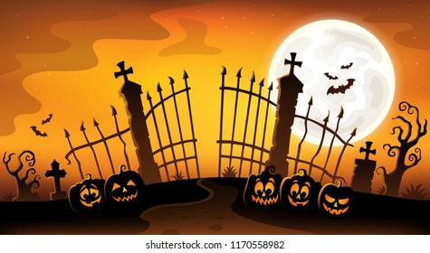 Cemetery gate silhouette theme 5 - eps10 vector illustration.