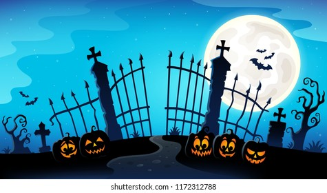 Cemetery gate silhouette theme 8 - eps10 vector illustration.