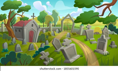 Cemetery graveyard landscape vector illustration. Cartoon summer day panorama scenery with old memorial tombstones, crypt among grass lawn and trees, gate to stone grave yard with fence background