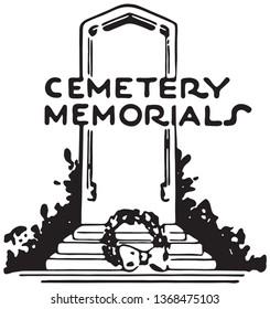 Cemetery Memorials - Retro Ad Art Banner