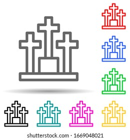 cemetery multi color style icon. Simple thin line, outline vector of web icons for ui and ux, website or mobile application