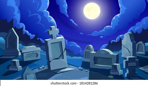 Cemetery at night with full moon, vector graveyard with tombstones and cracked stone crosses. Old creepy grave tombs at nighttime under cloudy sky at twilight. Cartoon memorials at spooky cemetery