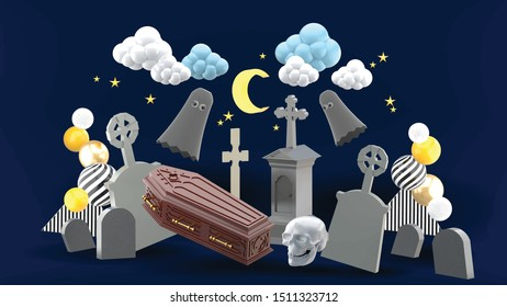 The cemetery is surrounded by gravestones and ghosts under the night sky.
