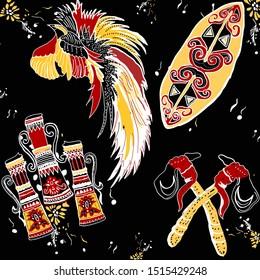 Cendrawasih batik motifs war drums and shields from Papua