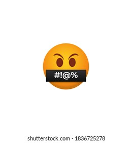 Censored angry emoticon. Yellow persons with their mouths closed with black tape bad message closed other users inaccurate speech violating rules social networks rudeness and vector insults.