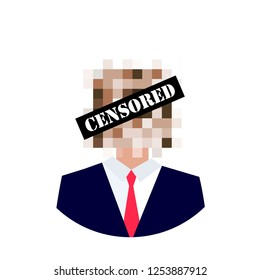 Censored concept. Man with censored sign on his face. Pixel censor sign. Vector illustration.