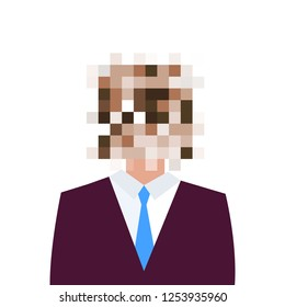 Censored concept. Man with censored sign on his face. Vector illustration.