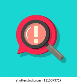 Censored content identifying vector icon, flat cartoon exclamation sign and magnifier glass, concept of chat message alert, adult content comment, angry bad talk searched