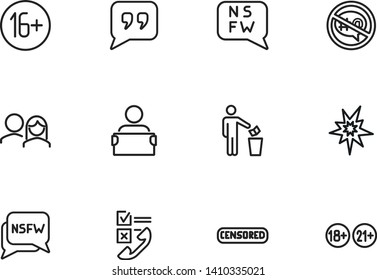 Censored content line icon set. Stamp, adult content, man throwing paper. Control concept. Can be used for topics like safety, censorship, parental control, virus