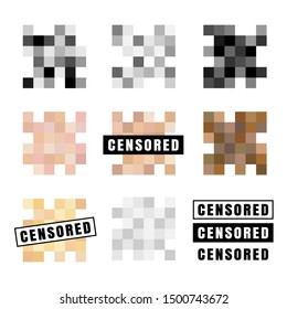 Censored labels collection. Vector symbols of digital adult control
