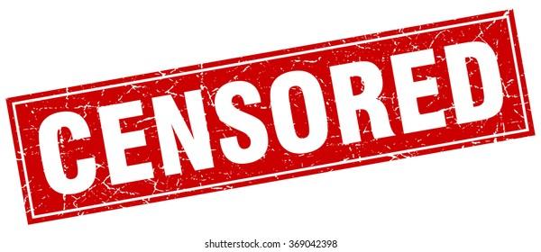 censored red square grunge stamp on white