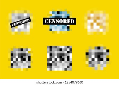 Censored vector template. Pixel censor sign. Black censor bar.