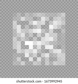 Censorship gray mosaic. Censored data. Pixels blur area. Private content. Vector illustration isolated on transparent background
