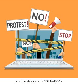 Censorship of the Internet and media. People hold banners and posters in their hands. Pickets and demonstrations. Stock vector illustration.