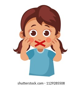censorship. little girl with a red cross instead of her mouth. can't say. Children silence. Cartoon vector illustration.