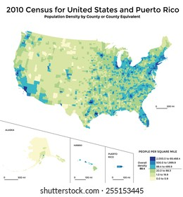Census 2010 map - population density USA and Puerto Rico