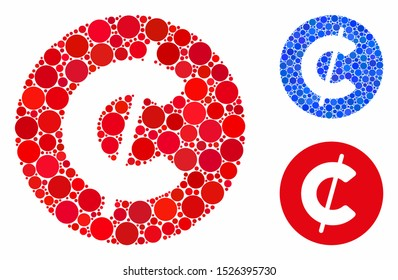 Cent coin mosaic for cent coin icon of spheric dots in different sizes and color hues. Vector circle elements are grouped into blue mosaic. Dotted cent coin icon in usual and blue versions.