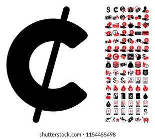 Cent icon. Vector illustration style is flat iconic symbols in black and red colors. Bonus contains 90 icons designed for business and commercial applications.